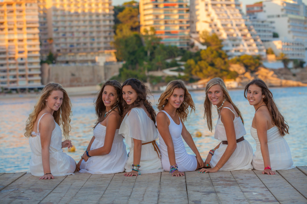 beautiful teens in white clothes